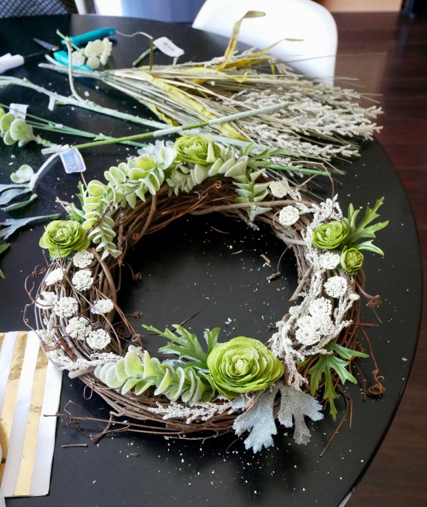 Julia's Wreath - Finished on Table